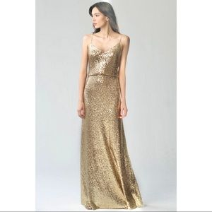 Jenny Yoo Jules Gold Sequin Dress Bridesmaid Gown
